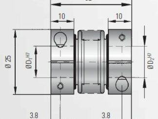 Sprzęgło do enkodera 3Nm BKL3/8/10 R+W Coupling